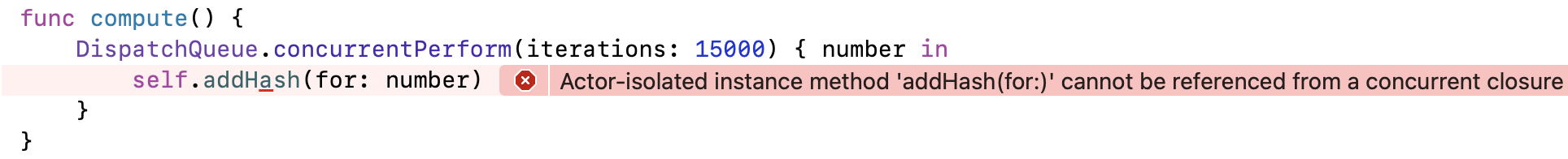 Data race compile error message in Xcode