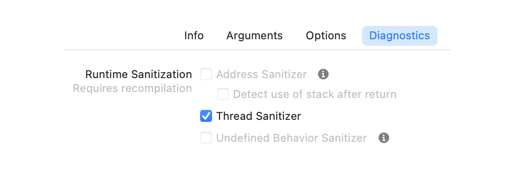 Thread sanitizer options in Xcode