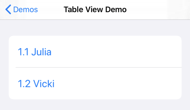 Populated table view