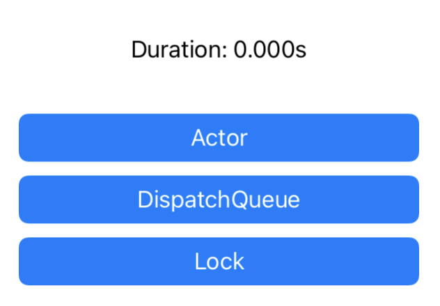 App user interface with three buttons to run various benchmarks