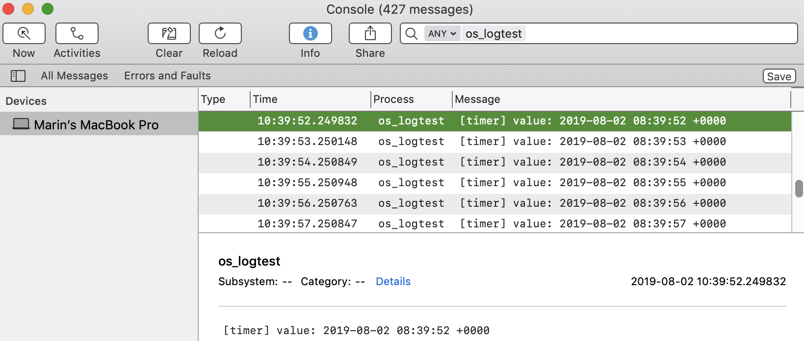 Console.app showing the custom operator log messages